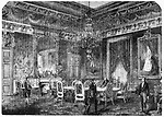 The Hall of Ambassadors where the Congress of Paris took place in 1856 to make peace after the almost three-year-long Crimean War. The Congress of Paris was a peace conference held between representatives of the great powers in Europe, which at the time were: France, Great Britain, the Ottoman Empire, Sardinia, Russia, Austria, and Prussia.