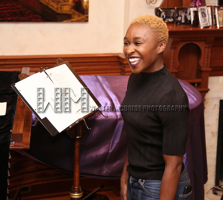 Cynthia Erivo during the Dramatists Guild Fund intimate salon with Benj Pasek and Justin Paul at the home of Kara Unterberg on March 7, 2016 in New York City.