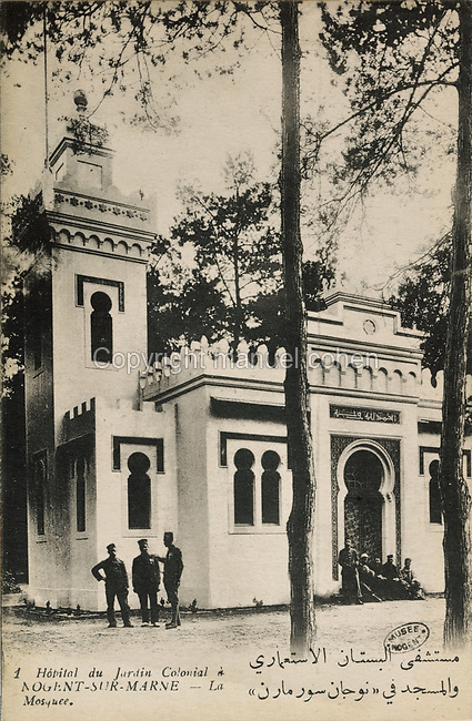 Mosque, built 1916, now demolished, next to the hospital used during the First World War for treating colonial troops, in the Jardin d'Agronomie Tropicale, or Garden of Tropical Agronomy, in the Bois de Vincennes in the 12th arrondissement of Paris, postcard from the nearby Musee de Nogent sur Marne, France. During the war the colonial hospital treated over 4800 patients and it closed on 1st May 1919. The garden was first established in 1899 to conduct agronomical experiments on plants of French colonies. In 1907 it was the site of the Colonial Exhibition and many pavilions were built or relocated here. The site is listed as a historic monument. Picture by Manuel Cohen / Musee de Nogent sur Marne