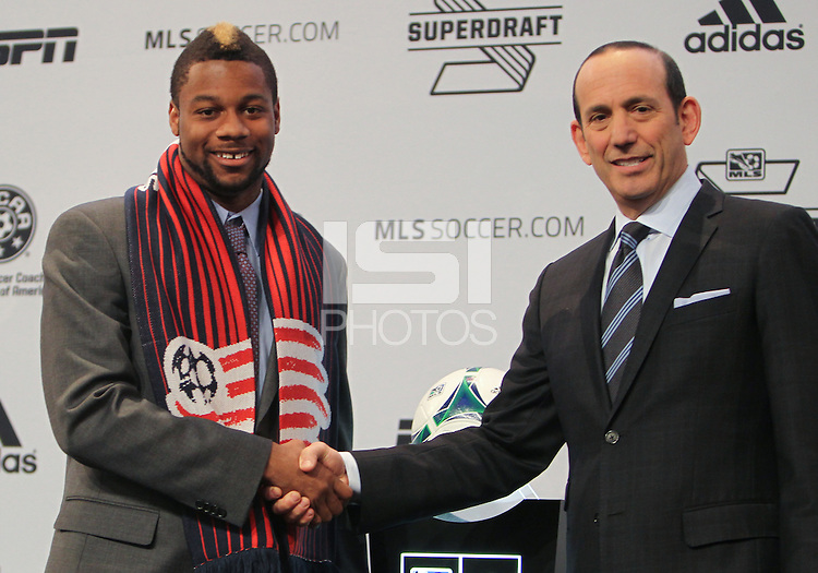 Indianapolis, IN, Thursday, Jan. 17, 2013: 2013 MLS Superdraft number one pick Andrew Farrel goes to New England.
