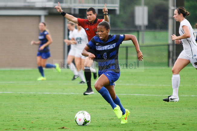 Kentucky sophomore Zoe Swift brings the ball up the field during the University of Kentucky vs. Ohio women's soccer game at the Wendell and Vickie Bell Soccer Complex in Lexington, Ky., on Sunday, August 31, 2014. Photo by Jonathan Krueger | Staff