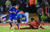 30th January 2019, Anfield, Liverpool, England; EPL Premier League football, Liverpool versus Leicester City; Naby Keita of Liverpool slides across the icy turf to tackle Marc Albrighton of Leicester City