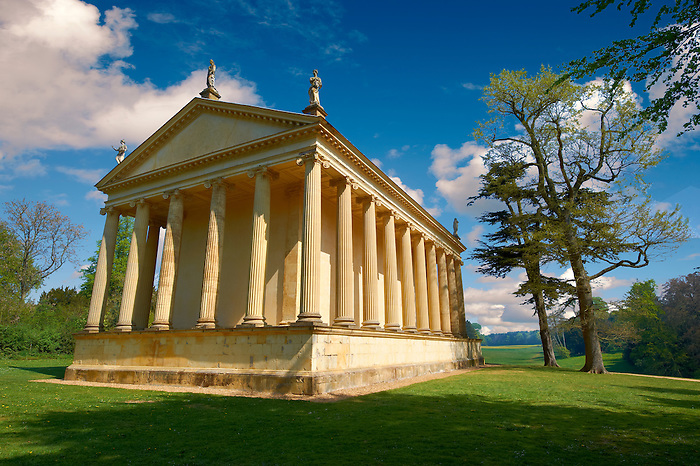 The neo-classic Temple of Concorde in Capability Browns English Lanscape Gardens at the Duke of Buckingham's  Stowe House,  Buckingham, England