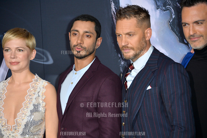 LOS ANGELES, CA. October 01, 2018: Michelle Williams, Riz Ahmed, Tom Hardy &amp; Reid Scott at the world premiere for &quot;Venom&quot; at the Regency Village Theatre.<br /> Picture: Paul Smith/Featureflash