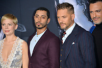"LOS ANGELES, CA. October 01, 2018: Michelle Williams, Riz Ahmed, Tom Hardy & Reid Scott at the world premiere for ""Venom"" at the Regency Village Theatre.<br /> Picture: Paul Smith/Featureflash"