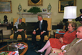 United States President Bill Clinton and Palestinian Authority Chairman Yassir Arafat meet on the Middle East Peace process in the Oval Office at the White House in Washington, D.C. on Thursday, June 15, 2000. United States Secretary of State Madeleine Albright and National Security Advisor Sandy Berger are seated on the right..Credit: Robert Trippett / Pool via CNP