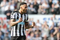 Jamaal Lascelles of Newcastle United celebrates at the final whistle during Newcastle United vs Arsenal, Premier League Football at St. James' Park on 15th April 2018
