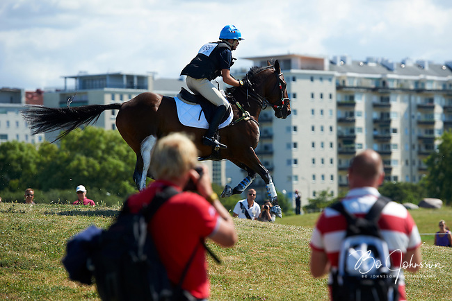 A nasty incident for Mattia Moschini (ITA) and Lord Sallyfield during the cross country test.<br /> 8 (8).<br /> Malmo City Horse Show FEI European Eventing Championships for Young Riders CCI**.<br /> Eventing in Ribersborg, Malmo, Sweden.<br /> August 2012.<br /> Only for editorial use.