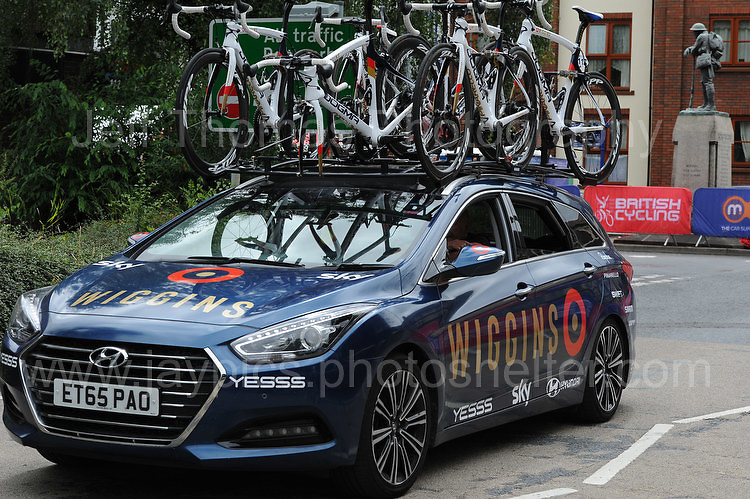 """An emergency replacement cycle vehicle during the Abergavenny Festival of Cycling """"Grand Prix of Wales"""" race on Sunday 17th 2016<br /> <br /> <br /> Jeff Thomas Photography -  www.jaypics.photoshelter.com - <br /> e-mail swansea1001@hotmail.co.uk -<br /> Mob: 07837 386244 -"""