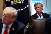 John Bolton, national security advisor,  istens as U.S. President Donald Trump speaks during a cabinet meeting in the Cabinet Room of the White House, on Wednesday, Jan. 2, 2019 in Washington, D.C. <br /> Credit: Al Drago / Pool via CNP
