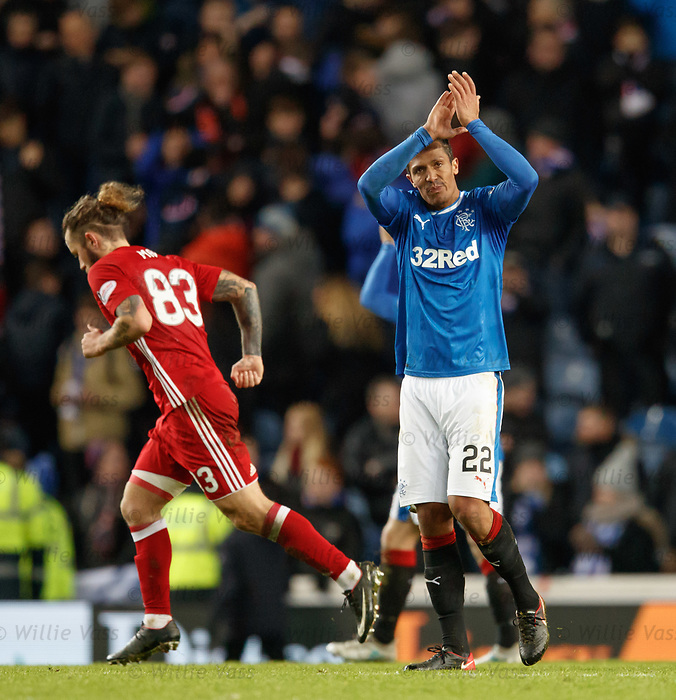 Bruno Alves applauding the Rangers fans