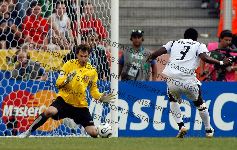 Jun 17, 2006; Cologne, Germany;GHANA forward GYAN Asamoah (3) shoot at goal and CZECH Republic goal keeper CECH Petr (1) save the goal, GHANA beat the CZECH Republic 2-0, of the opening round FIFA World Cup soccer match between CZECH Republic and GHANA, at the World Cupa Arena at COLOGNE, Germany. Mandatory Credit: Srdjan Stevanovic-US PRESSWIRE Copyright © 2006 Srdjan Stevanovic..