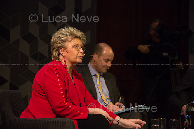 (From L to R) Viviane Reding and <br /> George Parker.<br /> <br /> London, 06/02/2014. Today, the 44th &quot;Citizens' Dialogue&quot; took place at The Royal Institution (RI) in London hosted by Viviane Reding (Luxembourg politician, currently serving as the European Commission Vice-President and European Commissioner for Justice, Fundamental Rights and Citizenship; member of the European People's Party, EPP) and David Lidington (British Minister for Europe; member of the Conservative Party). About 400 people, moderated by Financial Times Political Editor George Parker, discussed with the two politicians about the future of Europe, citizens' rights, the recovery from the economic crisis, present and future of the UK inside the European Union.<br /> <br /> For more information and for the video of the event please click here: http://bit.ly/19boyhd