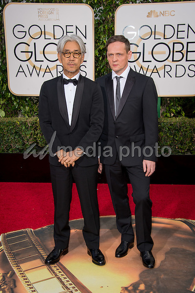 """Nominated for BEST ORIGINAL SCORE – MOTION PICTURE for """"The Revenant,"""" Ryuichi Sakamoto and Alva Noto attend the 73rd Annual Golden Globes Awards at the Beverly Hotel in Beverly Hills, CA on Sunday, January 10, 2016. Photo Credit: HFPA/AdMedia"""