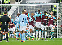 West Ham's players in the wall during the EPL - Premier League match between West Ham United and Manchester City at the Olympic Park, London, England on 29 April 2018. Photo by Andrew Aleksiejczuk / PRiME Media Images.
