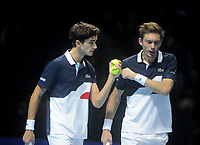 Pierre-Hugues Herbert and Nicolas Mahut in action against  Lukaz Kubot and Marcelo Melo<br /> Photographer Hannah Fountain/CameraSport<br /> <br /> International Tennis - Nitto ATP World Tour Finals Day 4 - O2 Arena - London - Wednesday 14th November 2018<br /> <br /> World Copyright © 2018 CameraSport. All rights reserved. 43 Linden Ave. Countesthorpe. Leicester. England. LE8 5PG - Tel: +44 (0) 116 277 4147 - admin@camerasport.com - www.camerasport.com
