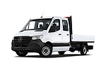 Stock pictures of low aggressive front three quarter view of a 2019 Mercedes Benz Sprinter DC Base 4 Door Pick Up