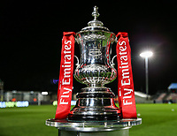 The Emirates FA Cup trophy pictured before the second Round tie between Solihull Moors and Blackpool<br /> <br /> Photographer Andrew Kearns/CameraSport<br /> <br /> The Emirates FA Cup Second Round - Solihull Moors v Blackpool - Friday 30th November 2018 - Damson Park - Solihull<br />  <br /> World Copyright © 2018 CameraSport. All rights reserved. 43 Linden Ave. Countesthorpe. Leicester. England. LE8 5PG - Tel: +44 (0) 116 277 4147 - admin@camerasport.com - www.camerasport.com