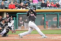 Jake Goebbert (7) of the Sacramento River Cats at bat against the Salt Lake Bees at Smith's Ballpark on April 3, 2014 in Salt Lake City, Utah.  (Stephen Smith/Four Seam Images)