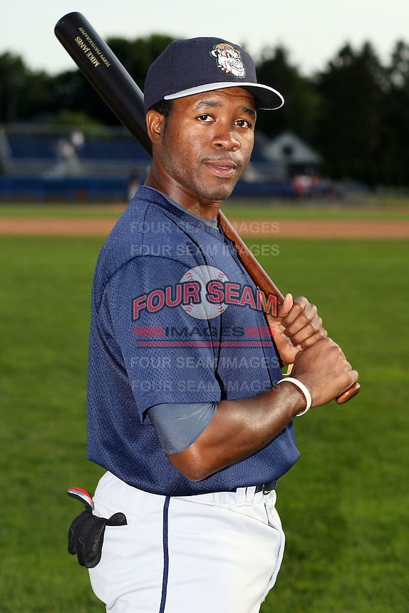 June 21st 2008:  Corteze Armstrong of the Mahoning Valley Scrappers, Class-A affiliate of the Cleveland Indians, during a game at Dwyer Stadium in Batavia, NY.  Photo by:  Mike Janes/Four Seam Images