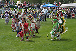 WY: Wyoming, Cody: Dancing at Plains Indian June Powwow...Photo #: yellow578..Photo copyright Lee Foster, 510/549-2202, lee@fostertravel.com, www.fostertravel.com..
