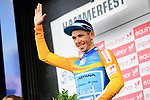 Sergei Chernetski Astana Pro Team retains the Leaders Jersey at the end of Stage 3 of the 2018 Artic Race of Norway, running 194km from Honningsvg to Hammerfest, Norway. 18th August 2018. <br /> <br /> Picture: ASO/Pauline Ballet | Cyclefile<br /> All photos usage must carry mandatory copyright credit (© Cyclefile | ASO/Pauline Ballet)