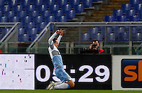 Calcio, Serie A: Lazio vs Milan. Roma, stadio Olimpico, 24 gennaio 2015.<br /> Lazio's Miroslav Klose celebrates after scoring during the Italian Serie A football match between Lazio and AC Milan at Rome's Olympic stadium, 24 January 2015.<br /> UPDATE IMAGES PRESS/Riccardo De Luca