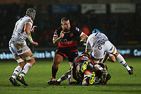 Owen Watkin of Ospreys is tackled by Adam Beard of Ospreys during the Guinness Pro 14 match between Newport Gwent Dragons and Ospreys at the Rodney Parade in Newport, Wales, UK. Sunday 31 December 2017