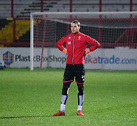 Lincoln City's Sam Slocombe during the pre-match warm-up<br /> <br /> Photographer Andrew Vaughan/CameraSport<br /> <br /> The EFL Checkatrade Trophy Second Round - Accrington Stanley v Lincoln City - Crown Ground - Accrington<br />  <br /> World Copyright © 2018 CameraSport. All rights reserved. 43 Linden Ave. Countesthorpe. Leicester. England. LE8 5PG - Tel: +44 (0) 116 277 4147 - admin@camerasport.com - www.camerasport.com