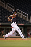 AZL Indians 1 second baseman Richard Palacios (13) follows through on his swing during an Arizona League game against the AZL White Sox at Goodyear Ballpark on June 20, 2018 in Goodyear, Arizona. AZL Indians 1 defeated AZL White Sox 8-7. (Zachary Lucy/Four Seam Images)