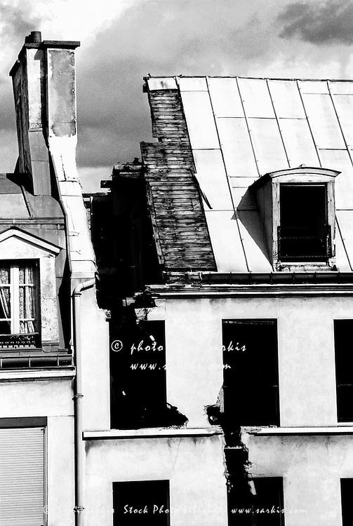 Split roof of a demolished building in Paris, France.