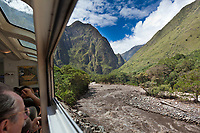 Train along the Urubamba river, the access route to Machu Picchu, Peru, South America.