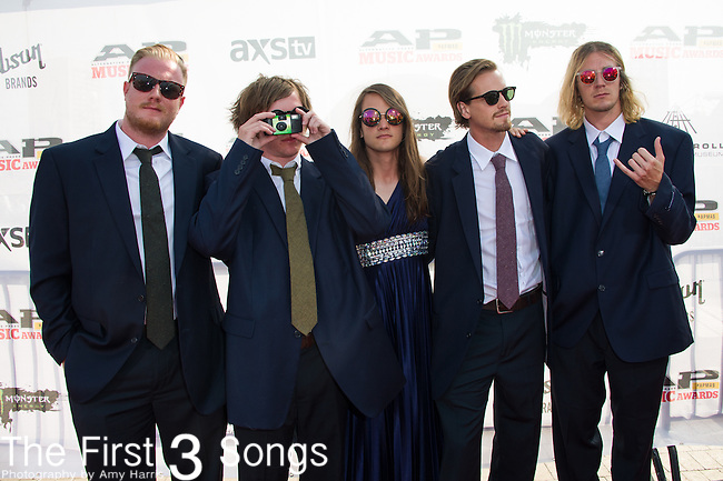 John O'Callaghan, Kennedy Brock, Jared Monaco, Garrett Nickelsen, and Pat Kirch of The Maine attends the 2014 AP Music Awards at the Rock And Roll Hall Of Fame and Museum at North Coast Harbor in Cleveland, Ohio.