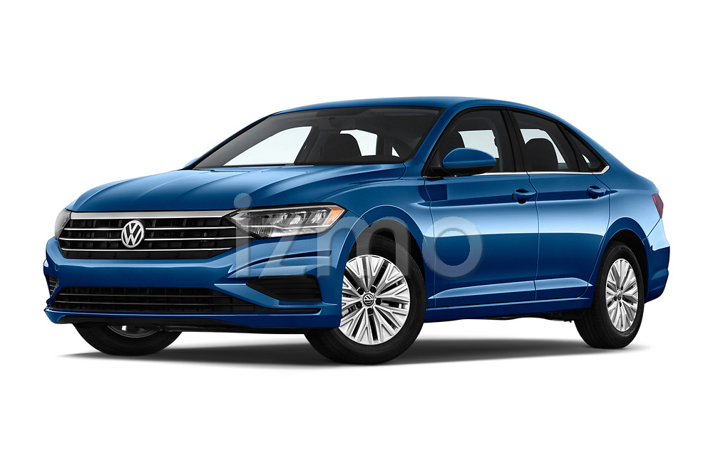 Stock pictures of low aggressive front three quarter view of a 2019 Volkswagen Jetta S 4 Door Sedan