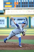 Shane Bieber (19) of the UC Santa Barbara Gauchos pitches against the Cal State Long Beach Dirtbags at Blair Field on April 1, 2016 in Long Beach, California. UC Santa Barbara defeated Cal State Long Beach, 4-3. (Larry Goren/Four Seam Images)