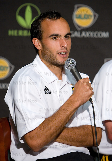 LA Galaxy captain Landon Donovan answers questions from the floor during the press conference at Carson, Los Angeles