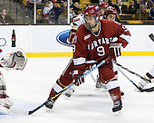 Danny Biega (Harvard - 9), Barry Almeida (BC - 9) - The Boston College Eagles defeated the Harvard University Crimson 6-0 on Monday, February 1, 2010, in the first round of the 2010 Beanpot at the TD Garden in Boston, Massachusetts.