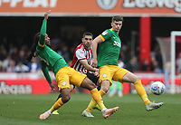 Preston North End's Calum Woods and Daniel Johnson challenge Brentford's Neal Maupay<br /> <br /> Photographer Rob Newell/CameraSport<br /> <br /> The EFL Sky Bet Championship - Brentford v Preston North End - Sunday 5th May 2019 - Griffin Park - Brentford<br /> <br /> World Copyright © 2019 CameraSport. All rights reserved. 43 Linden Ave. Countesthorpe. Leicester. England. LE8 5PG - Tel: +44 (0) 116 277 4147 - admin@camerasport.com - www.camerasport.com