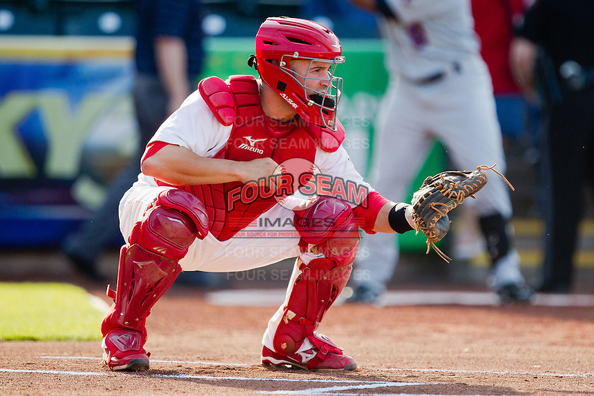 Nick Derba (18) of the Springfield Cardinals waits for a pitch during a game against the Arkansas Travelers at Hammons Field on May 5, 2012 in Springfield, Missouri. (David Welker/Four Seam Images)