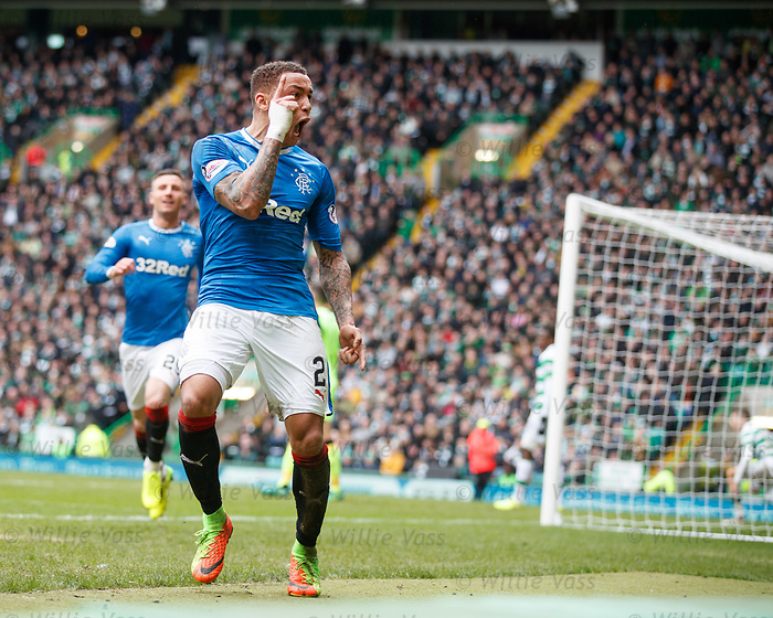 James Tavernier celebrates as Clint Hill scores