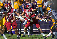 NWA Democrat-Gazette/BEN GOFF @NWABENGOFF<br /> Jake Hall (95), Arkansas defensive end, blocks as Blake Johnson gets off a punt in the first quarter against LSU Saturday, Nov. 11, 2017 at Tiger Stadium in Baton Rouge, La.