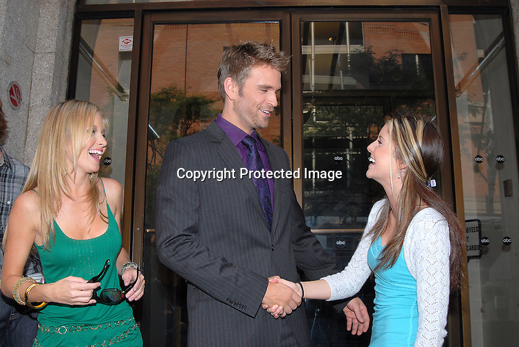 Justis Bolding, John Brotherton and Brittany Underwood..outside One Life to Live on September 21, 2007 in New York City.  Timbaland was performing on the show. .. Photo by Robin Platzer, Twin Images......212-935-0770