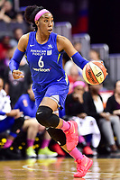 Washington, DC - August 12, 2018: Dallas Wings forward Kayla Thornton (6) brings the ball up court during game between the Washington Mystics and the Dallas Wings at the Capital One Arena in Washington, DC. (Photo by Phil Peters/Media Images International)