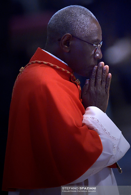 Cardinal Robert Sarah .Pope Francis the ceremony of the Good Friday Passion of the Lord Mass in Saint Peter's Basilica at the Vatican.April 19, 2019