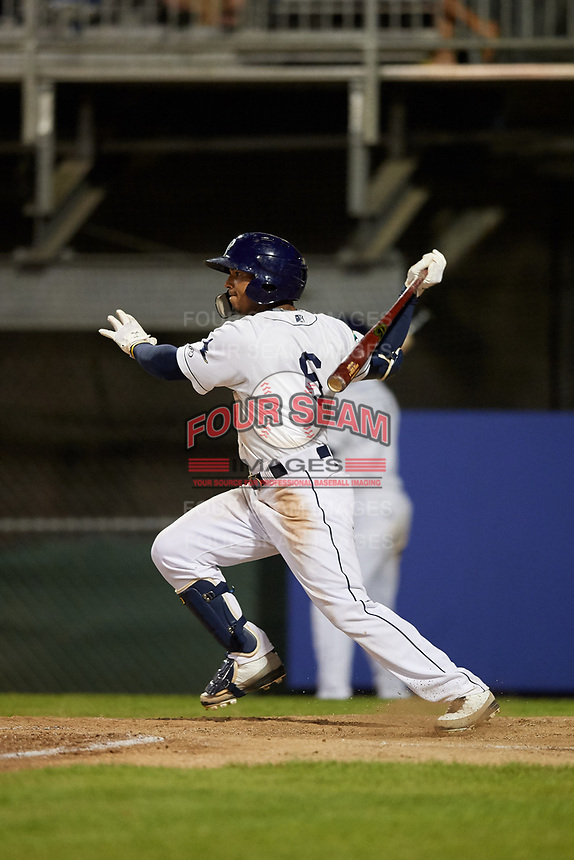 Princeton Rays designated hitter Wander Franco (6) follows through on a swing during the second game of a doubleheader against the Johnson City Cardinals on August 17, 2018 at Hunnicutt Field in Princeton, Virginia.  Princeton defeated Johnson City 12-1.  (Mike Janes/Four Seam Images)