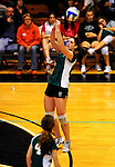 14 November 2010: Junior Leslie Gadway in action for the Vermont Commons School Flying Turtles, as the VCS Girls team defends their title to win the 2010 High School Volleyball State Championship at Saint Michael's College in Colchester, Vermont. Gadway was the MVP for the Turtles in their third consecutive state title. Participating schools included: the Enosburg Falls Hornets, the Lake Region Union Rangers, the Lyndon Institute Vikings, and the VCS Flying Turtles. The Boys Championship went to Lake Region Union High School. Mandatory Credit: Ed Wolfstein Photo.