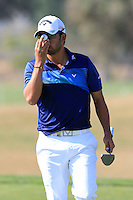 Pablo Larrazabal (ESP) putts on the 9th green during Thursday's Round 1 of the 2016 Portugal Masters held at the Oceanico Victoria Golf Course, Vilamoura, Algarve, Portugal. 19th October 2016.<br /> Picture: Eoin Clarke   Golffile<br /> <br /> <br /> All photos usage must carry mandatory copyright credit (© Golffile   Eoin Clarke)