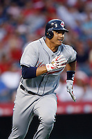 Victor Martinez of the Cleveland Indians during a game from the 2007 season at Angel Stadium in Anaheim, California. (Larry Goren/Four Seam Images)