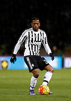 Calcio, Serie A:  Bologna vs Juventus. Bologna, stadio Renato Dall'Ara, 19 febbraio 2016. <br /> Juventus&rsquo; Patrice Evra in action during the Italian Serie A football match between Bologna and Juventus at Bologna's Renato Dall'Ara stadium, 19 February 2016.<br /> UPDATE IMAGES PRESS/Isabella Bonotto
