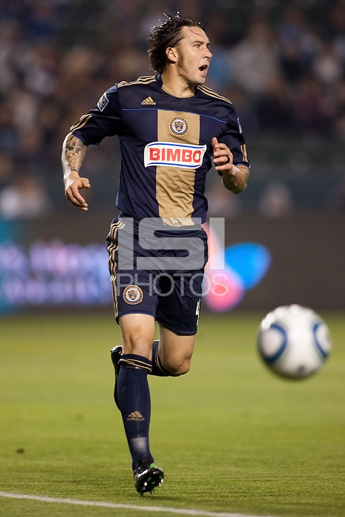 Philadelphia Union defender Danny Calif (4) chases after a ball. The LA Galaxy defeated the Philadelphia Union 1-0 at Home Depot Center stadium in Carson, California on  April  2, 2011....